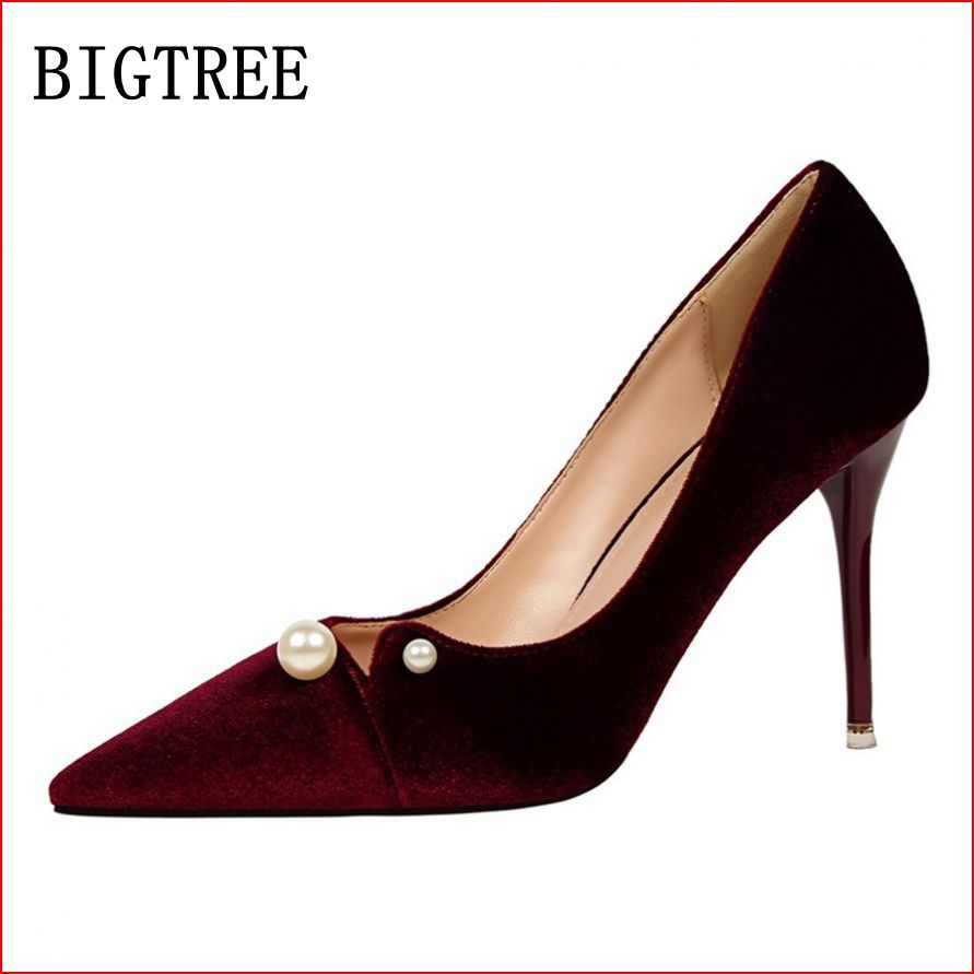 BIGTREE New women's fashion high heels sexy banquet pointed lady suede high-heeled shoes was thin comfortable wedding shoes classic fashion women s club banquet wedding shoes sexy suede zipper 17 cm in stiletto heels