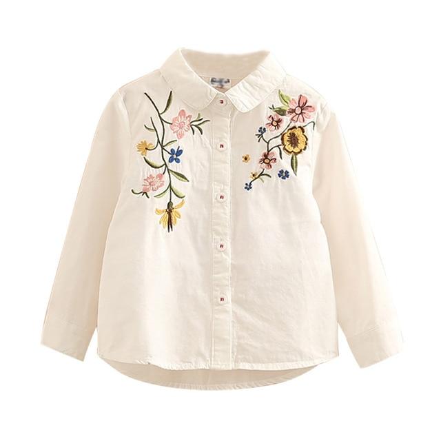 e43c002cb Moda bebé niñas camisa 2019 primavera otoño blusas camisas niños flores  bordado ropa de manga larga