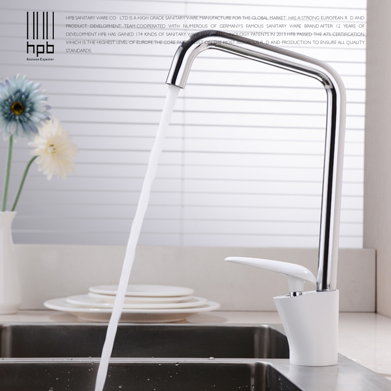 HPB White Paint Kitchen Faucet Water Mixer Single Handle Hot And Cold Sink Tap Brass Chrome Finished Contemporary Style HP4024 gizero free shipping orange spring kitchen faucet brushed nickle finish single handle hot cold water crane mixing tap gi2069