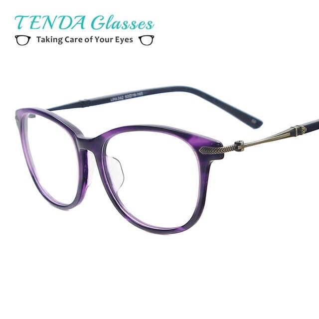 Mulheres Da Moda Acetato Óculos de Aro Full Frame Óculos Redondos Do  Vintage Para a Prescrição 552248f02d