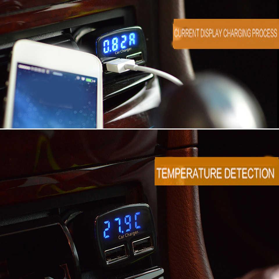 3.1A כפולה USB מטען לרכב 5V אוניברסלי 4 ב 1 מתח/טמפרטורה/הנוכחי Meter Tester מתאם דיגיטלי LED תצוגה עבור Huawei