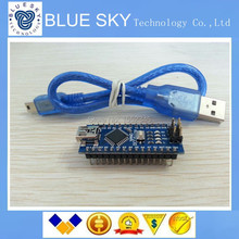 Бесплатная Доставка 10 ШТ./ЛОТ Для arduino Nano 3.0 Atmel ATmega328 Mini-USB Доска + 1 шт. USB Кабель новый