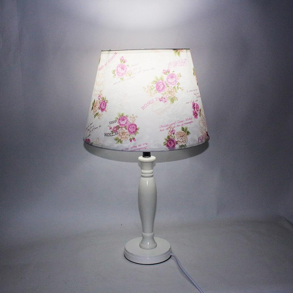 Modern style novelty fabric wood desk lights vintage E27 LED 220V flower Table Lamp for study bed room living room office hotel