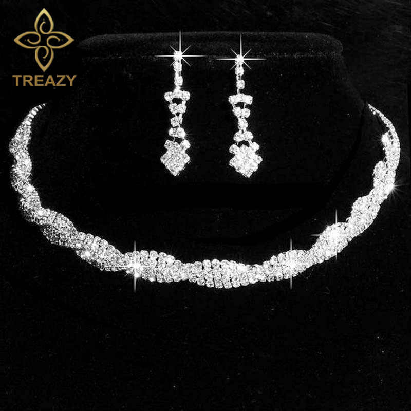 TREAZY Silver Color Wedding Jewelry Set Sparkly Rhinestone Crystal Twisty Choker Necklace Earrings Set Charm Bridal Jewelry Set