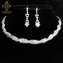 TREAZY kolor srebrny zestaw biżuterii ślubnej świecący kryształ Rhinestone Twisty Choker naszyjnik kolczyki zestaw urok zestaw biżuterii ślubnej tanie tanio Zinc Alloy Kobiety Zestawy biżuterii dla nowożeńców Moda TRENDY Ślub HQ08J01 Geometric Necklace Earrings Set Ear Pin