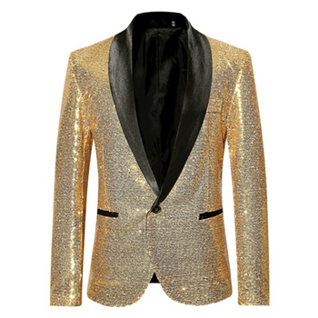 Uplzcoo Shiny Gold Sequin Bling Glitter Suits&Blazer Men 2019 New Shawl Collar Club DJ Mens Blazer Jacket Stage Clothers EM148 1
