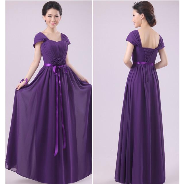 LC445M Floor Length Short Sleeves Long Bridesmaid Dresses
