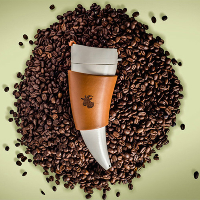 Acier inoxydable Vide Bouteille Creativite Corne De Chèvre Café Tasse Sport Thermos Tasse Croissants Tasse Potable Directe Drop Shipping 20