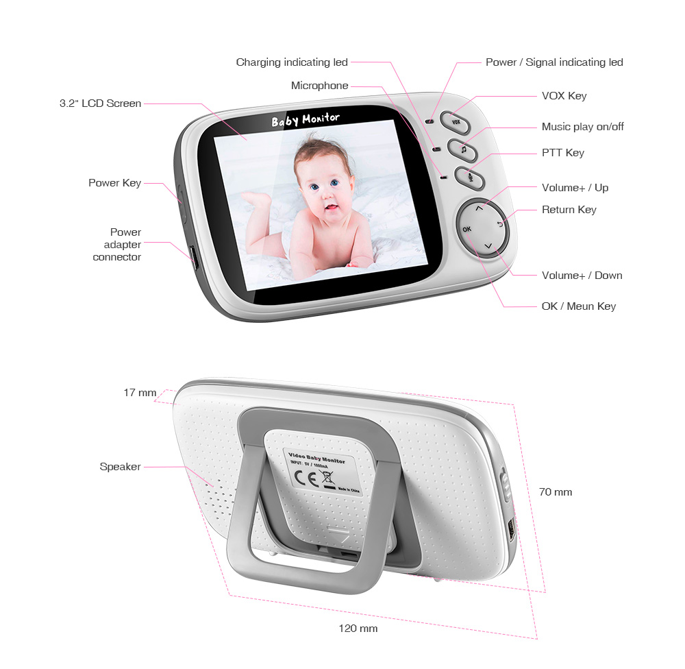 Image 2 - BONLOR 3.2 inch Wireless Video Color Baby Monitor High Resolution Baby Nanny Security Camera Night Vision Temperature Monitoring-in Baby Monitors from Security & Protection