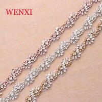 WENXI 10 야드 도매 크리스탈 라인 석 트림 야드 트림 라인 석 밴딩 크리스탈 신부 띠 WX816