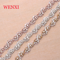 Wenxi 10 yardas rhinestone cristalino al por mayor por la patios TRIM bandas rhinestone cristal para vestido nupcial SASH WX816