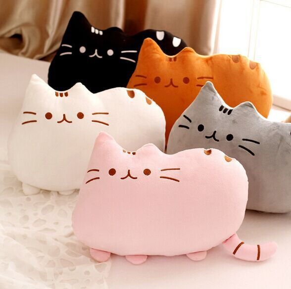 40cm 5styles kawaii biscuits cats cute stuffed animal plush toys dolls pusheen shape pillow cushion for
