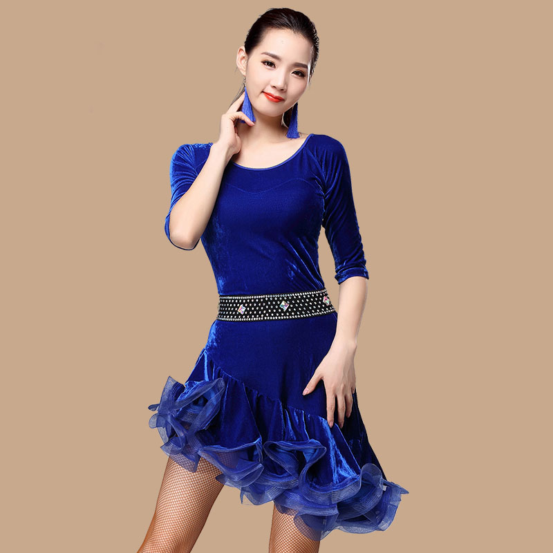Picture of Autumn And Winter New New Latin Dance Dress Gold Velvet Dress Adult Dance Clothes Square Dress