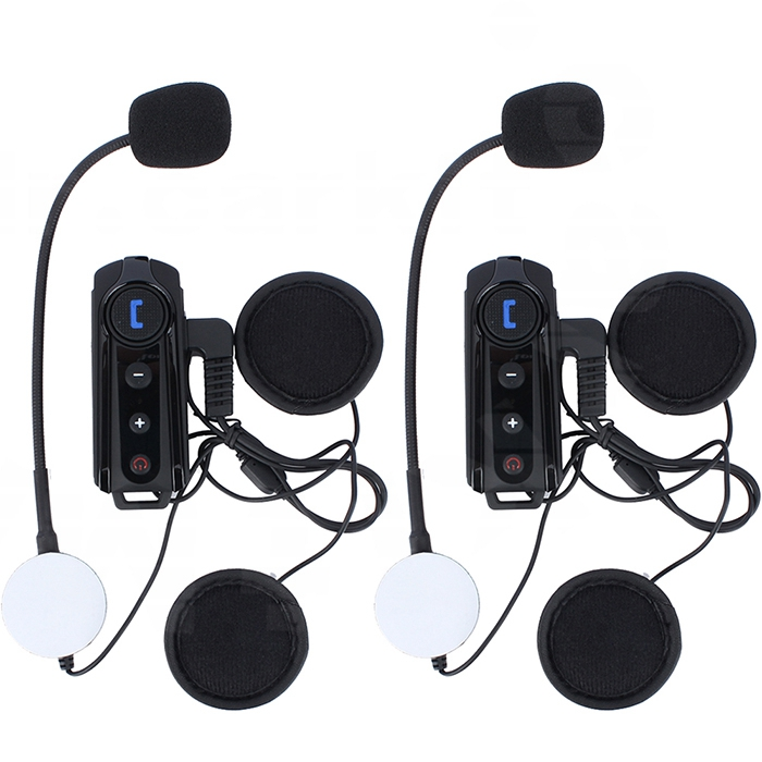 2 Pcs 1000M Motorbike BT Interphone Waterproof Motorcycle Helmet Bluetooth Headset Intercom With FM Radio Stereo Music