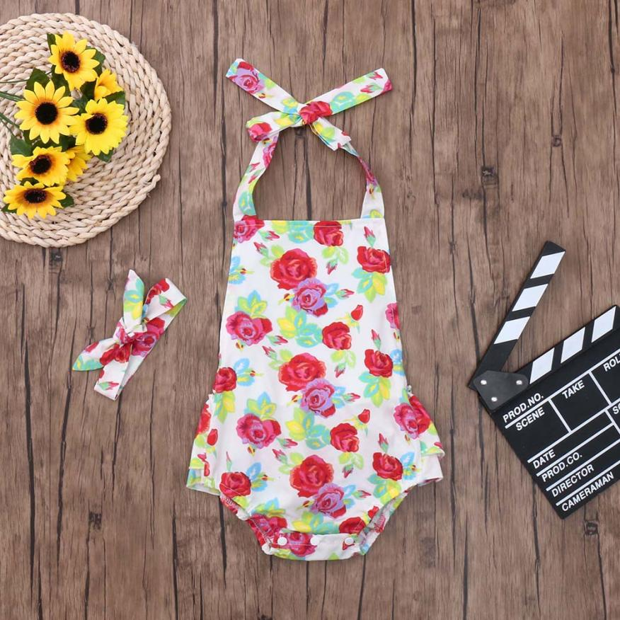 newborn Infant baby girl onesie Romper Girls Floral Print Ruffles Jumpsuit Outfits Summer tiny cottons funny baby clothes