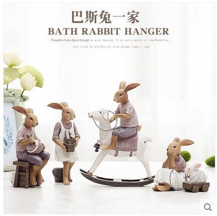 Creative resin cute rabbits family figurines vintage statue home decor crafts room decoration objects resin animal figurines