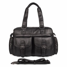 Genuine Cow Leather Mens Fashion Handbag Simple Classic Black Book Bag Durable Laptop 7381A