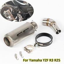 Motorcycle Exhaust Link Pipe Tip Muffler Silencer Tip Tail Pipe Slip-on for Yamaha YZF R3 R25