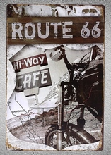 1 pc Route 66 High way Motorcycle Biker Rider Tin Plate Sign wall man cave Decoration Man Art Poster metal vintage home