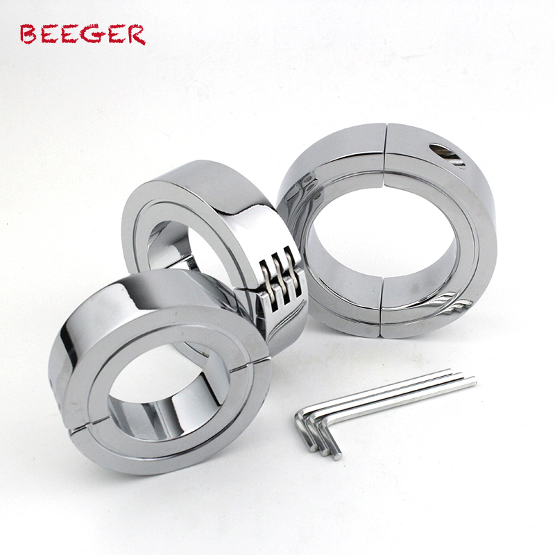 BEEGER Locking Hinged Cock Ring,Help your cock last longer during sex with a steel hinged cock ring,3 size for choice help your baby talk