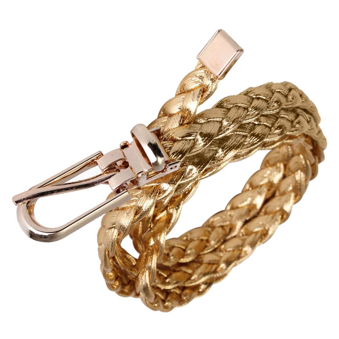 Women Simple Braided PU Leather Narrow Thin Buckle Strap Waist Belt Waistband Colors: Gold