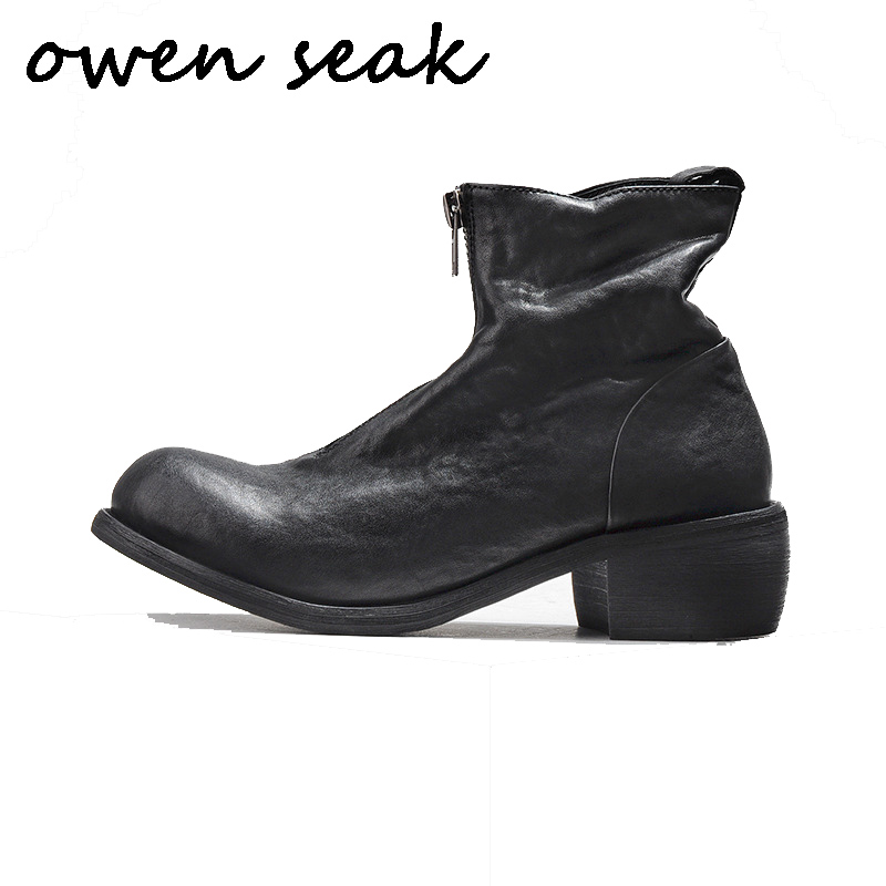 Owen Seak Men Casual Shoes High TOP Ankle Riding Boots Retro Genuine Leather Zip Sneakers Luxury