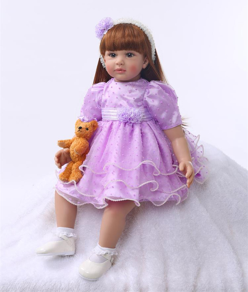Pursue 24/60 cm Lovely Purple Dress Baby Reborn Silicone Princess Girl Doll Toys for Girls Play House Doll Gift Christmas Doll 22 58cm rebirth doll soft silicone eva matryoshka doll princess reborn domino dress blond kid christmas gift