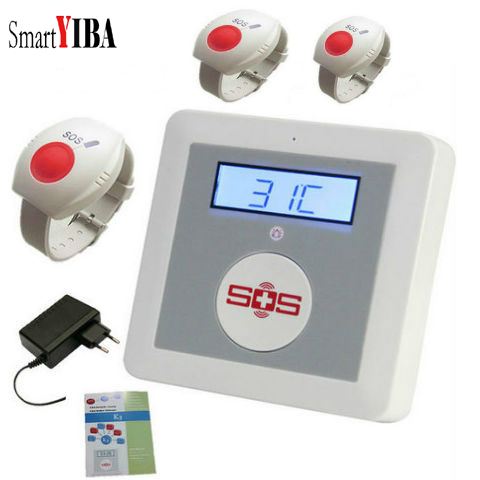 SmartYIBA Wireless Elderly Care Home safe K4 SMS GSM Alarm LCD Display Remote Monitoring SOS Panic Button Temperature Detector
