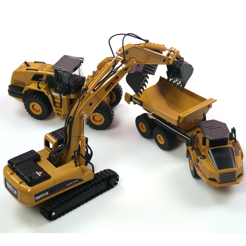 HUINA 1:50 camion à benne basculante pelle sur pneus moulé sous pression en métal modèle Construction véhicule jouets pour garçons cadeau d'anniversaire voiture Collection