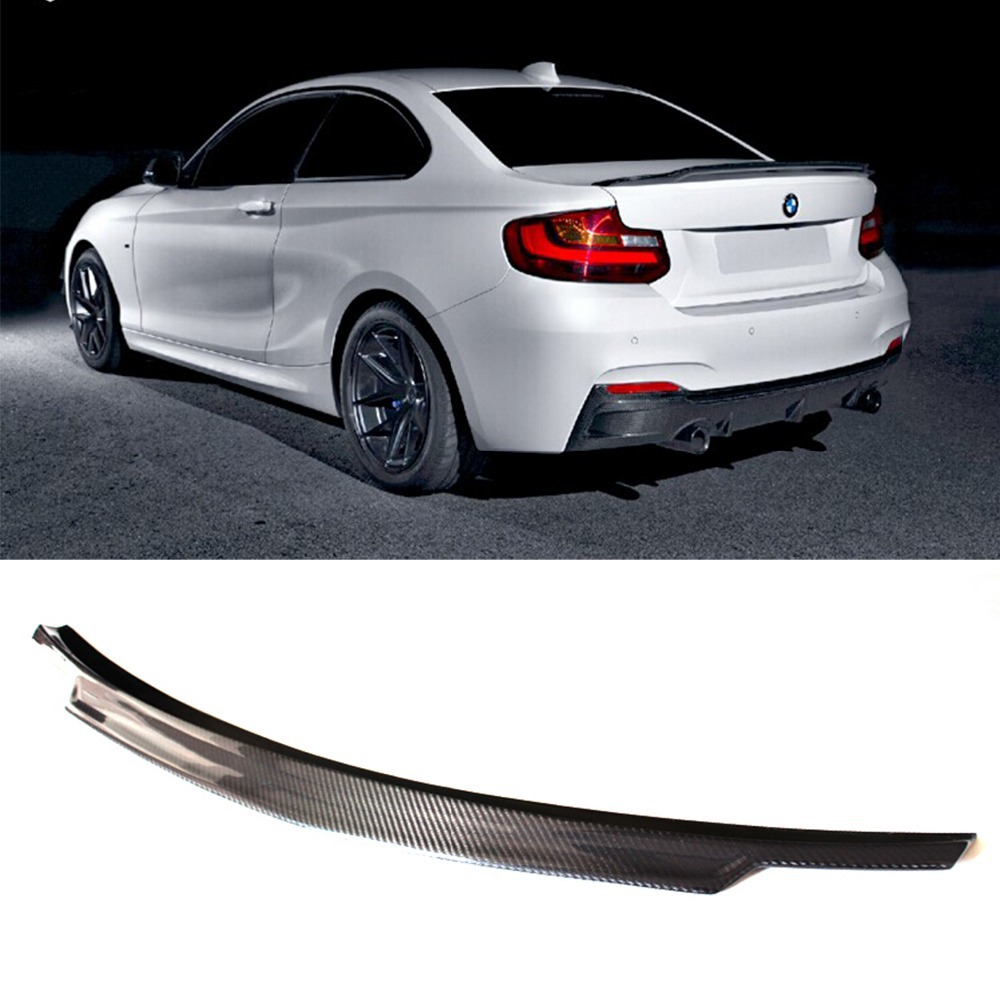 F22 C74 Styling Carbon Fiber Car Rear Trunk spoiler wing for BMW 2 Series 2 Door Coupe 235i 220i 228i M235i 2014UP hot car abs chrome carbon fiber rear door wing tail spoiler frame plate trim for honda civic 10th sedan 2016 2017 2018 1pcs