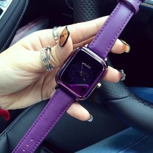 Ladies Fashion Bright Color Square Dial Luxury Brand Women's Watches Leather Female Wrist Watch For Women relojes mujer montre