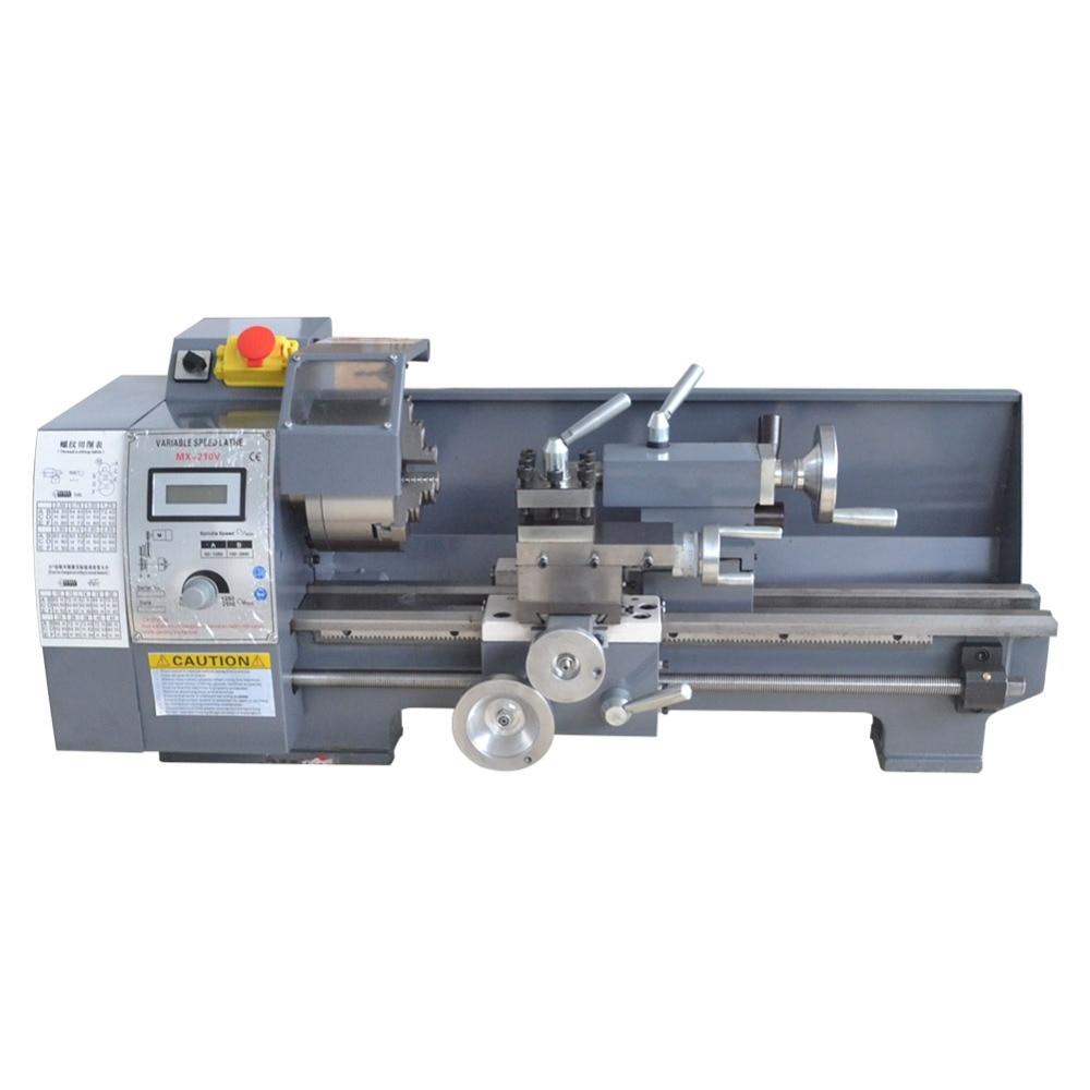 Mini Metallo Tornio Da Banco A Velocità Variabile 8X16 750 w Top Digital per la lavorazione del Legno