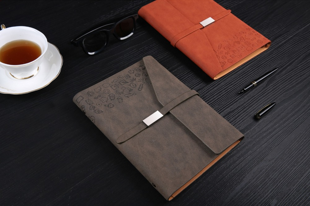 Loose-leaf spiral binder school supplies pu faux leather sketchbook business office supplies notebook planner high quality pu cover a5 notebook journal buckle loose leaf planner diary business buckle notebook business office school gift