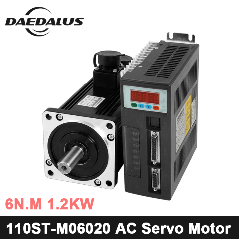 High quality 110ST-M06020 220V 1200W AC Servo motor 1.2KW 2000RPM 6N.M. Single-Phase ac drive permanent magnet Matched Driver 2017 limited ac servo motor best price great quality servo motor set 6n m 1 2kw 2000rpm 110st ac 110st m06020 matched driver