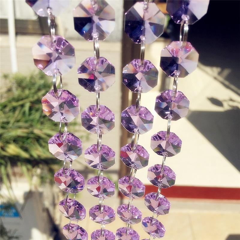 500m Lilac Crystal Glass Octagon Beads Bear Crystal Glass Garland رشته برای عروسی و جشن کریسمس دکوراسیون داخلی لامپ
