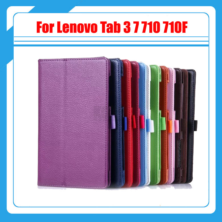3 in 1, PU Leather Cover Stand Case for Lenovo Tab 3 Tab3 7 710 710F Tablet TB3-710F + Screen Protector Film + Stylus magnetic stand smart pu leather cover for lenovo tab 4 8 tb 8504f 8504n 8 0 tablet funda case free screen protector stylus pen