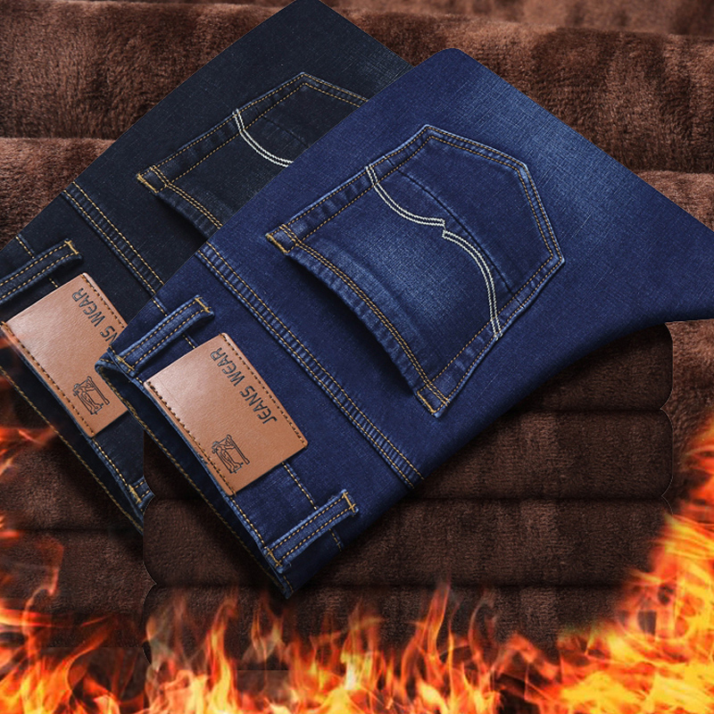 Winter Men'S Jeans Warm Men Homme Vaqueros Hombre Jean Winter Jeans For Men Pants Slim Joggers Hip Hop Pantalon