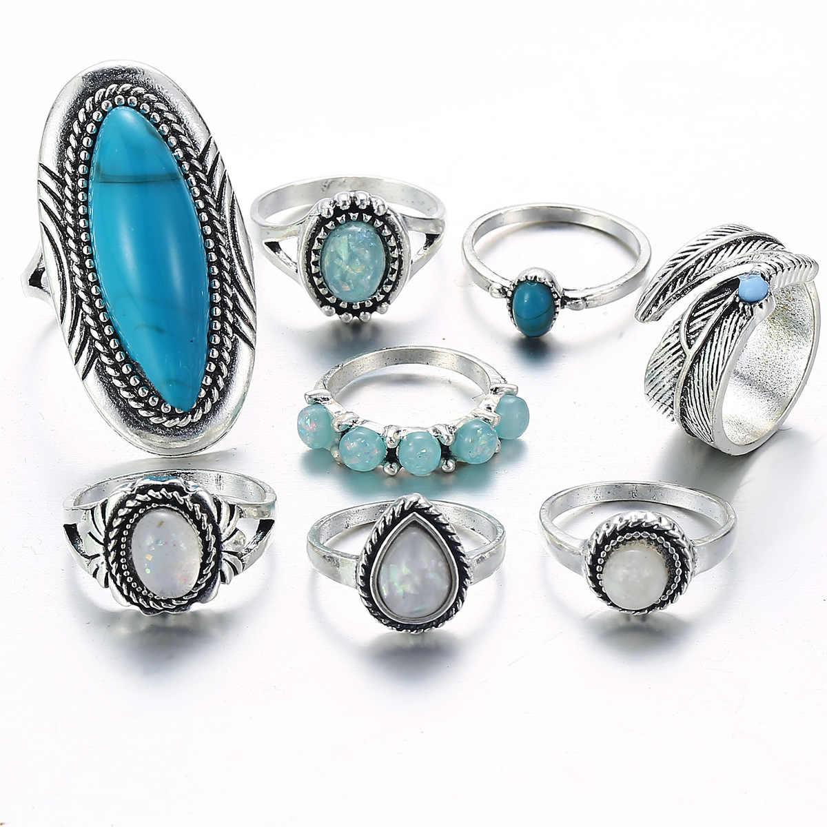JQUEEN 8 ชิ้น/เซ็ต VINTAGE โบฮีเมียเงิน Turquoises แหวน Knuckle ชุดผู้หญิงเรขาคณิตโอปอล MIDI แหวน