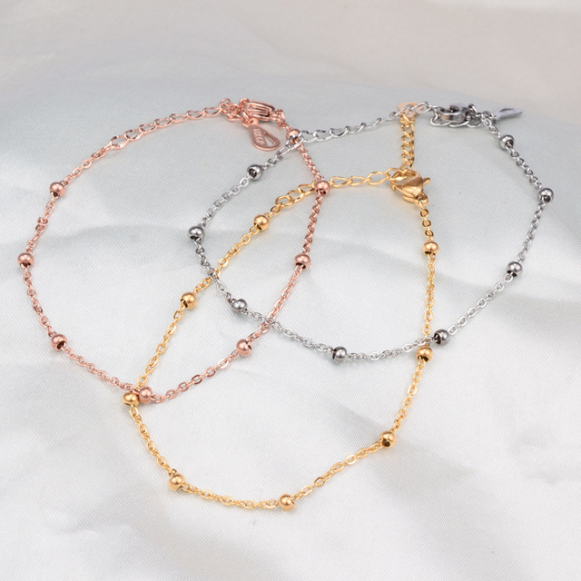 mieux aimé 94b18 5ae35 Bracelet de perles en acier inoxydable couleur or Rose pour femmes,  bracelets de chaîne à la main et bracelets d'amitié