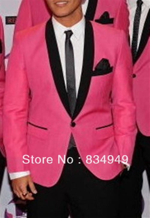 Custom Made To Measure Men Suit Bespoke Hot Pink Groom Wedding Tuxedos With Black Shawl Lapel Tailor Jacket Pants In Suits From S