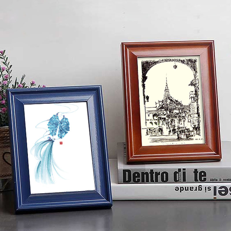 Wedding Gift Photo Frame: Solid Color Wooden Photo Frame Picture Frame Stand On The