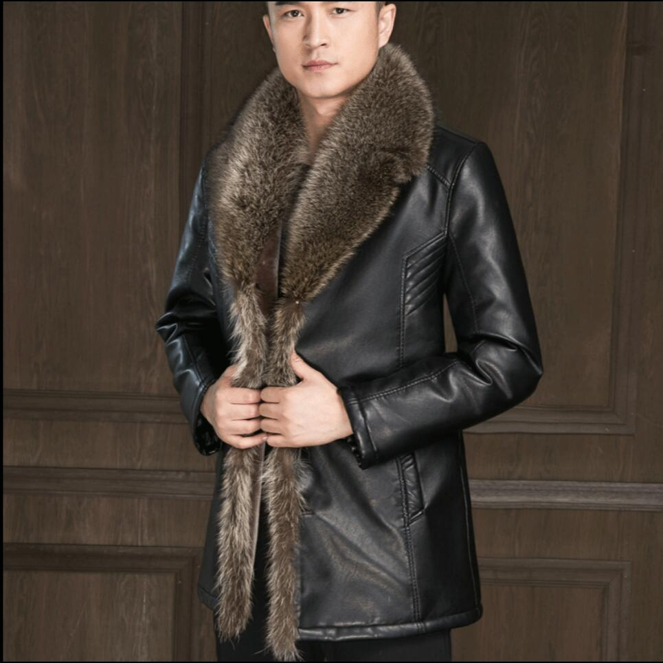 S-4XL Winter Genuine Leather Faux Fur Jackets Leather Coat Men Sheep Skin Leather Jackets Warm Business Coat Plus Size Overcoat