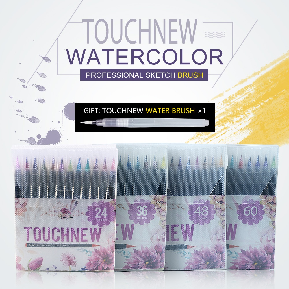 TOUCHNEW watercolor brush 24/36/48/60 colors sets for drawing painting design manga liner art supplies marker brush pen bianyo 20 colors artist sketch marker pen set for school student drawing painting brush pen watercolor manga marker art supplies