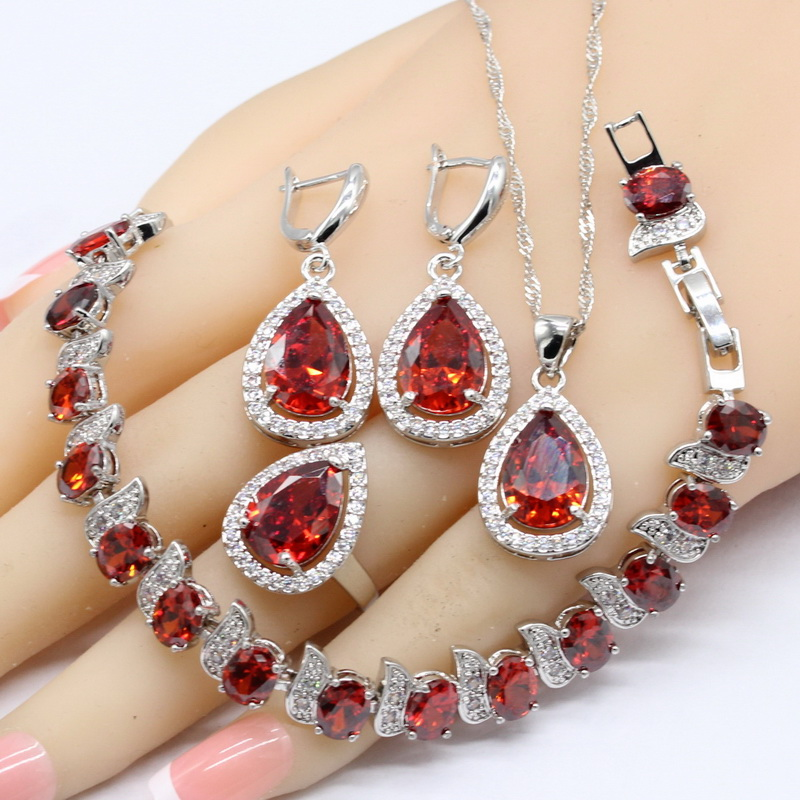 Red Cubic Zirconia White Stones 925 Silver Jewelry Sets Necklace Pendant Bracelets Earrings Rings For Women Free Gift Box orange morganite stylish jewelry set for women white zircon gold color rings earrings necklace pendant bracelets