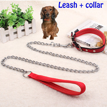 Pet leash Metal chains Foam handle Dog chain Dog rope Training chain Pet collar Suitable for small and medium sized dogs цена
