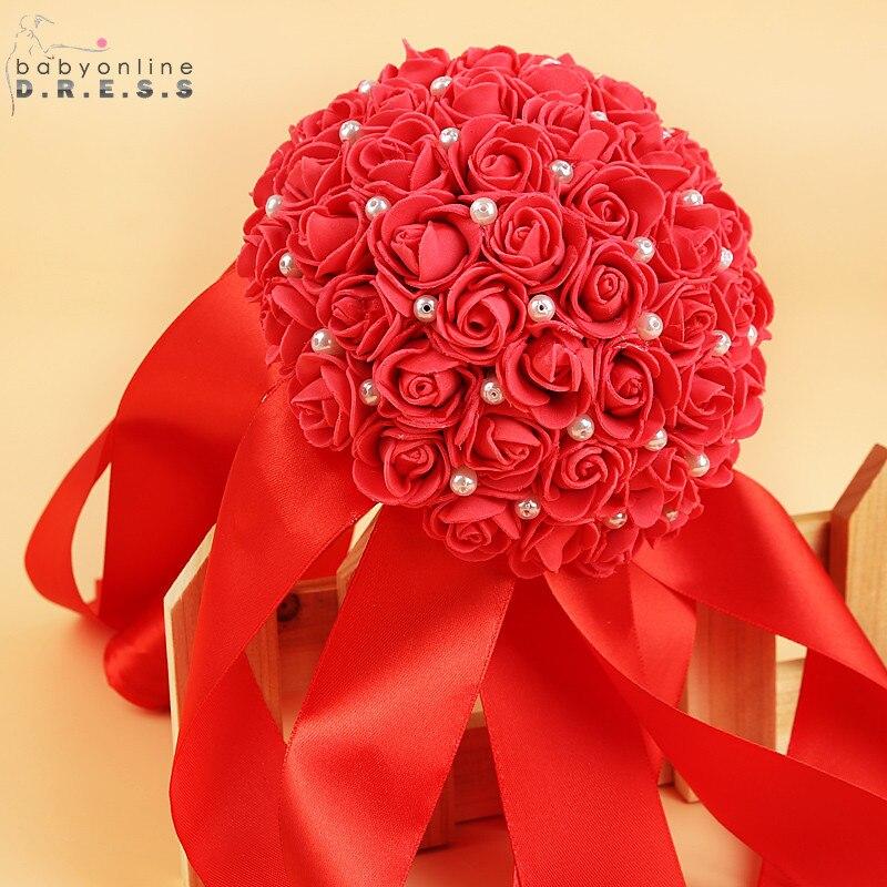 Wedding-Bouquet Ramos-De-Novia Artificial Ribbon-Flower Rose Handmade White With Bridal