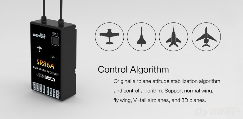 DETRUM 2.4G SR86A 8CH Rx Receiver W// Istone 6-Axis Gyro Programmable ABS System