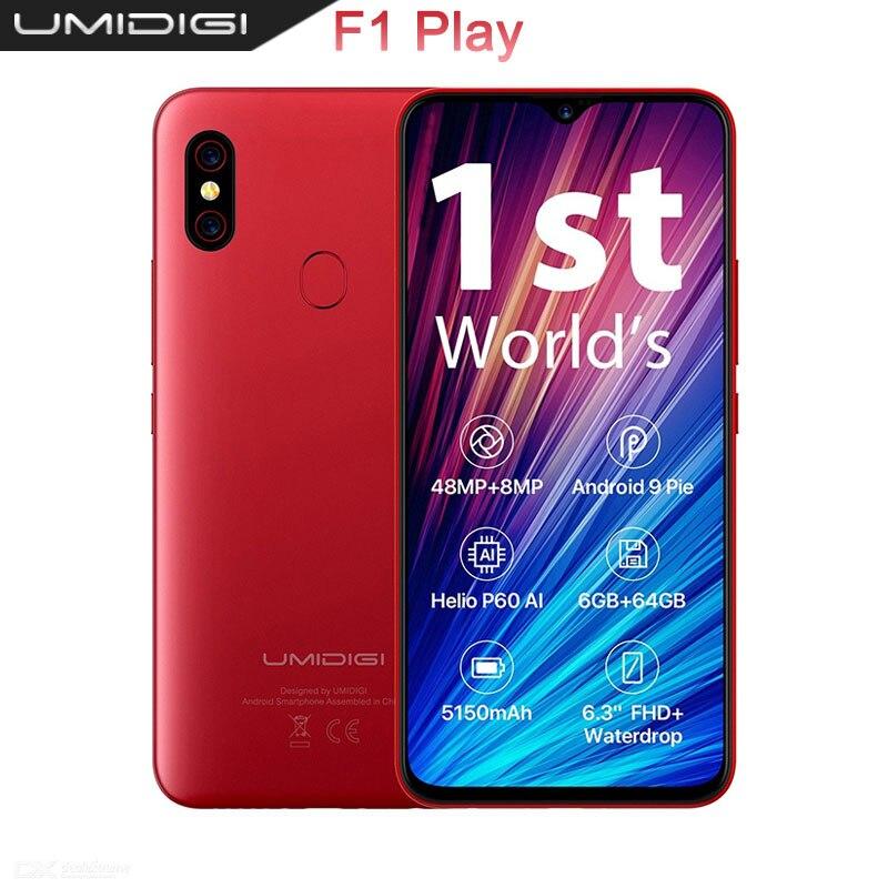 UMIDIGI F1 Jogar 48MP + 8MP + 16MP 5150mAh do telefone Móvel Android 9.0 GB de RAM 64 6GB ROM 6.3