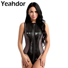 Women Shiny Metallic Patent Leather Sheer Mesh Splice Lingerie Sleeveless Double Zipper High Cut Thong Leotard Bodysuit Summer(China)