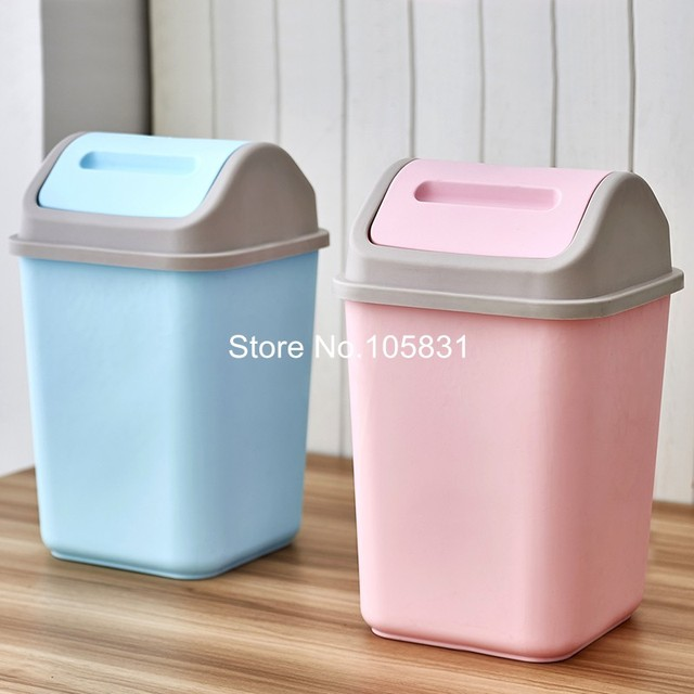 Creative Flip Cover Waste Bin Household Kitchen Bathroom Large Plastic Trash  Can Table Office Desk Wastebasket